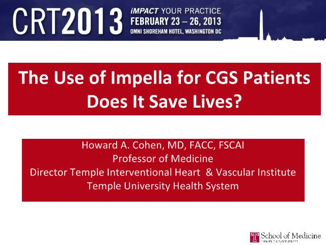 The Use of Impella for CGS Patients Does It Save Lives? - CRTOnline